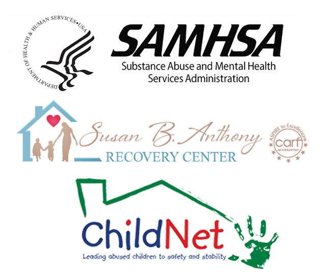 SAMHSA, Susan B. Anthony, and ChildNet logos