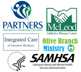 Partners, North Carolina, McLeod Addictive Disease Center, Integrated Care of Greater Hickory, SAMHSA, and Olive Branch Ministries Logos