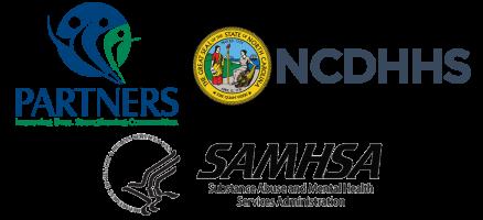 Partners, NCDHHS, and SAMHSA logos